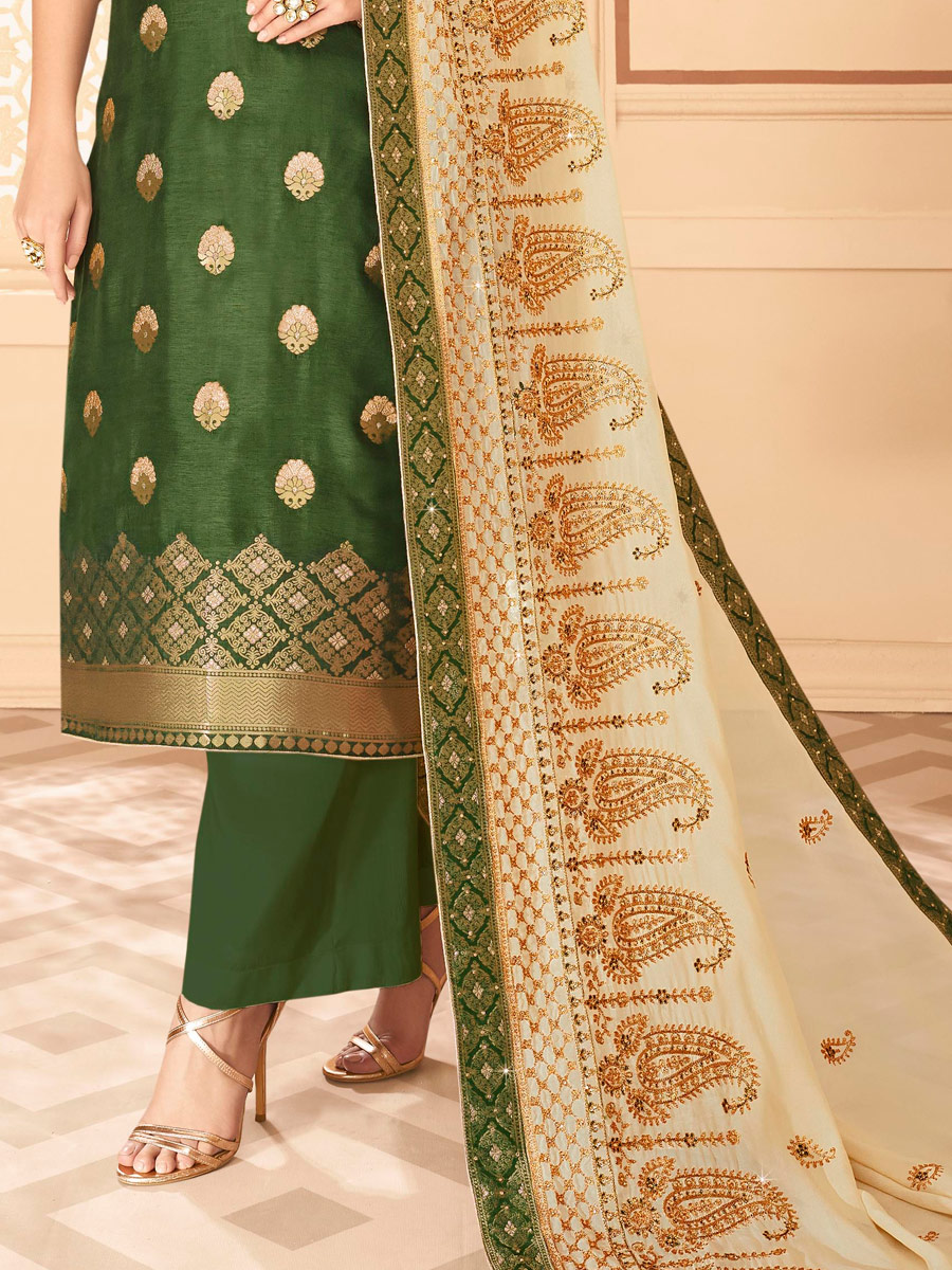 Fern Green Jacquard Embroidered Festival Palazzo Pant Kameez