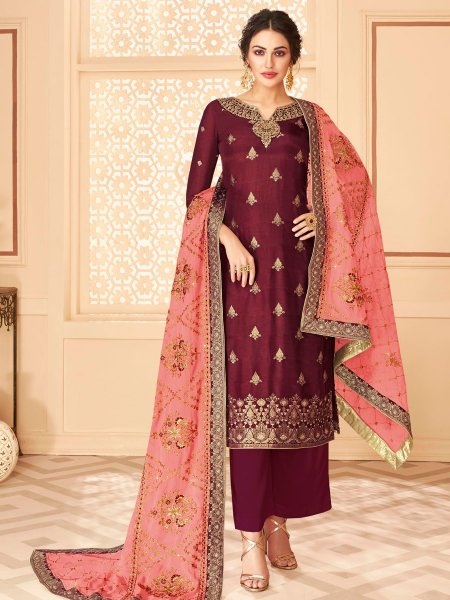 Maroon Jacquard Embroidered Festival Palazzo Pant Kameez