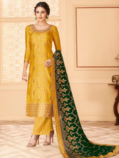 Mustard Yellow Jacquard Embroidered Festival Palazzo Pant Kameez