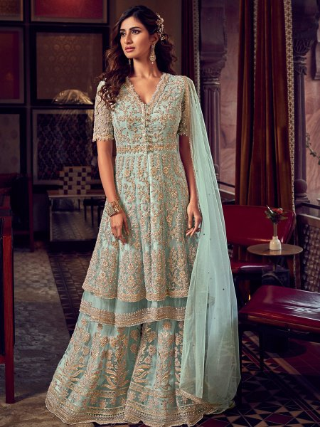 Sky Blue Net Embroidered Festival Palazzo Pant Kameez