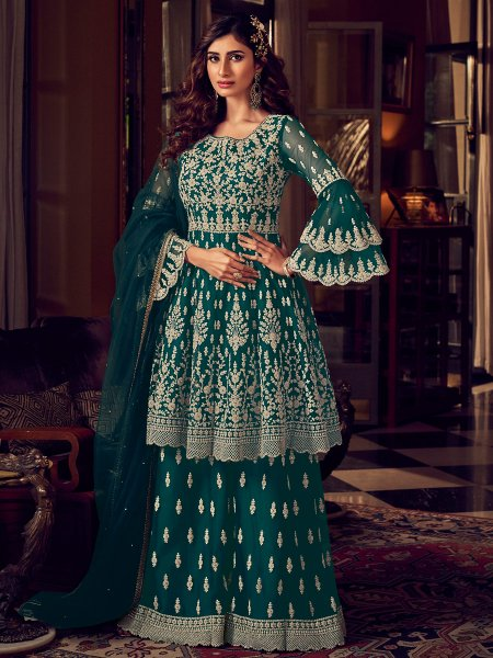 Midnight Green Net Embroidered Festival Palazzo Pant Kameez