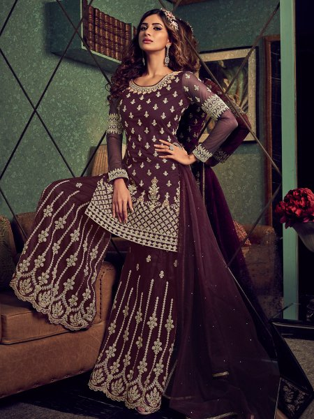 Wine Red Net Embroidered Festival Palazzo Pant Kameez