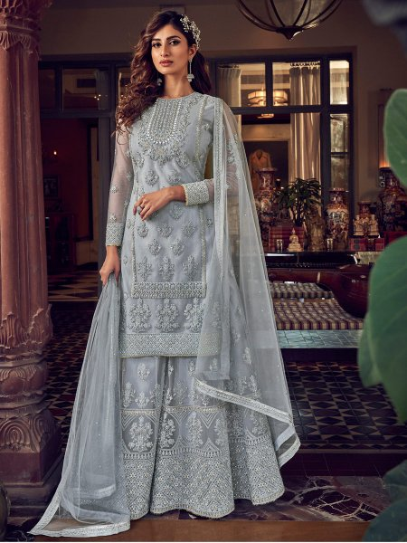 Light Gray Net Embroidered Festival Palazzo Pant Kameez