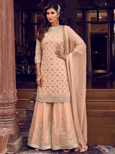 Light Coral Pink Faux Georgette Embroidered Festival Palazzo Pant Kameez