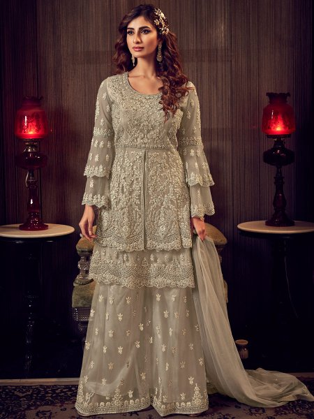 Gray Net Embroidered Festival Palazzo Pant Kameez