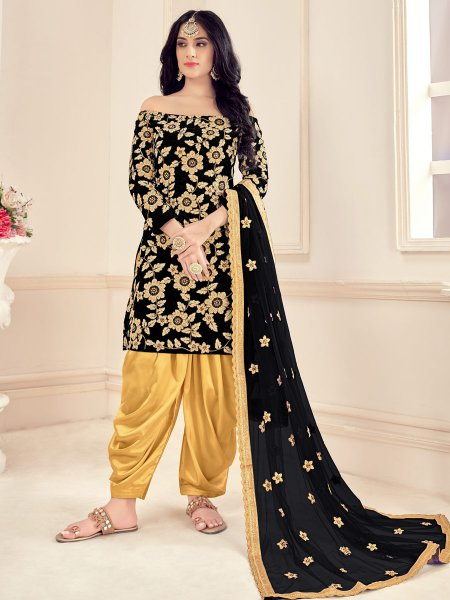 Black Velvet Embroidered Festival Patiala Pant Kameez