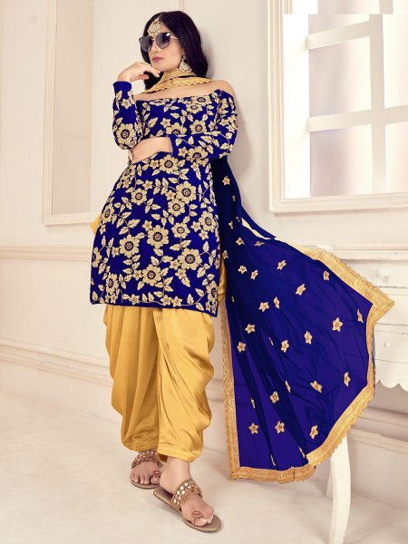 Dark Blue Velvet Embroidered Festival Patiala Pant Kameez