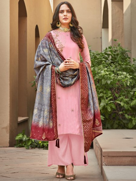 Salmon Pink Silk Embroidered Festival Palazzo Pant Kameez