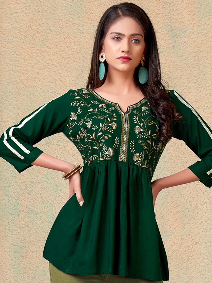 Hunter Green Rayon Embroidered Party Top