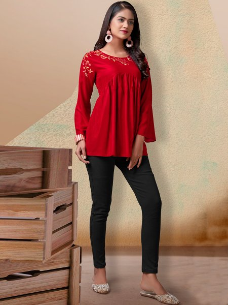 Rose Madder Red Rayon Embroidered Party Top