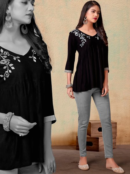 Black Rayon Embroidered Party Top