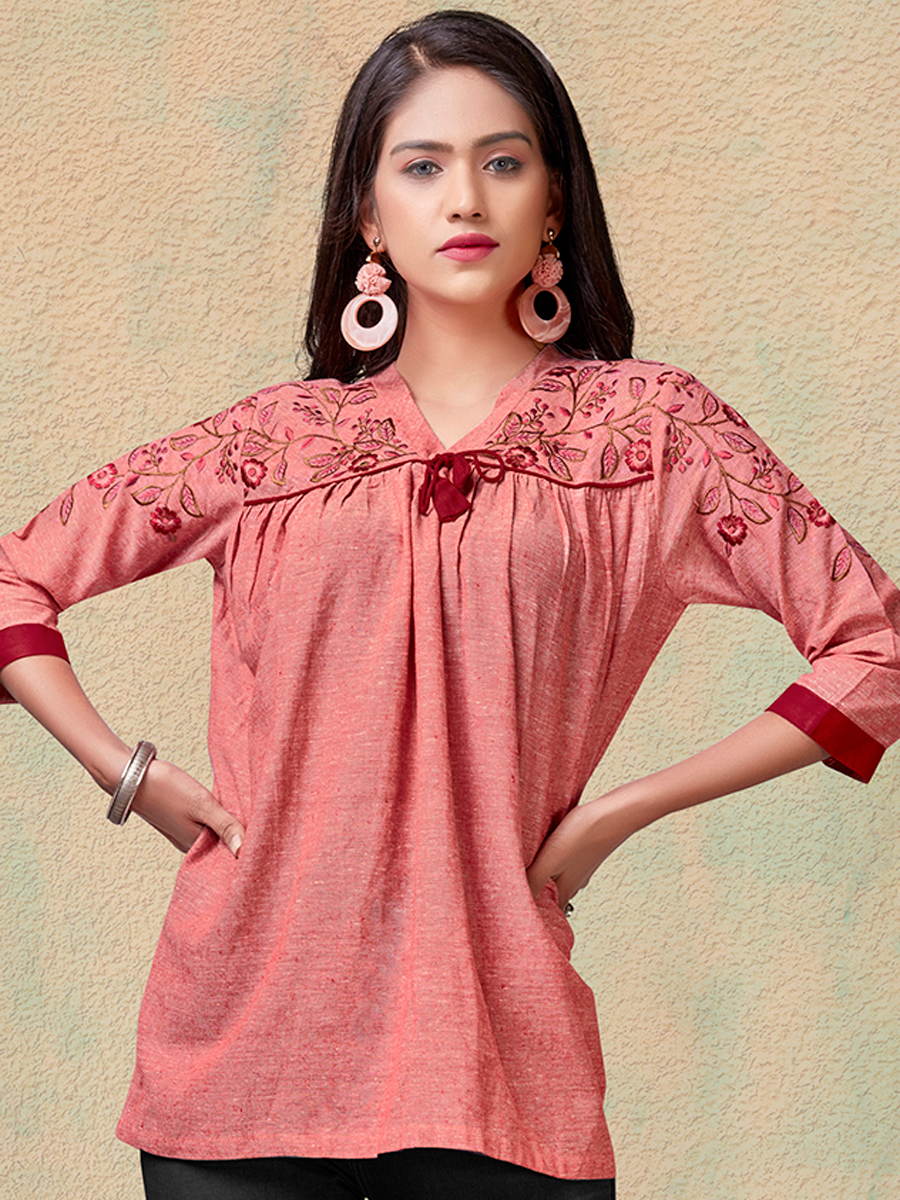 Coral Pink Rayon Embroidered Party Top