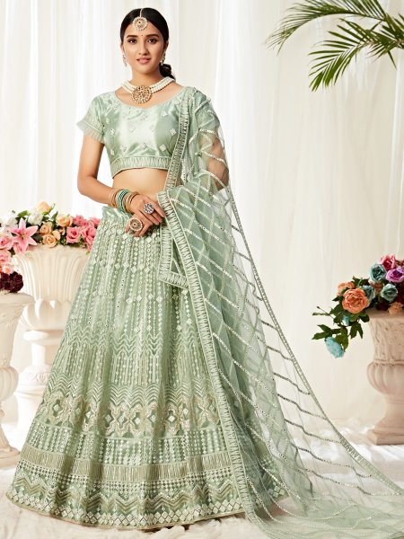 Celadon Green Net and Satin Silk Embroidered Wedding Lehenga Choli
