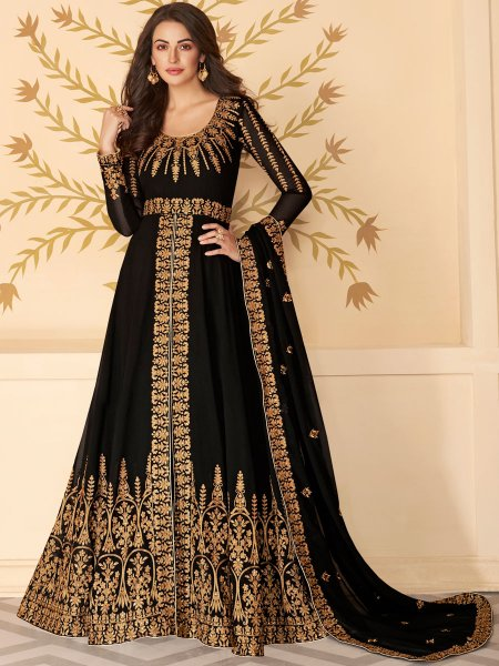 Black Faux Georgette Festival Embroidered Lawn Kameez