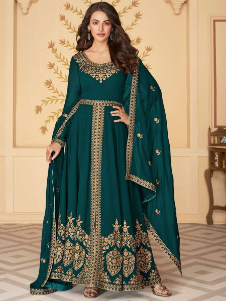 Pine Green Faux Georgette Festival Embroidered Lawn Kameez