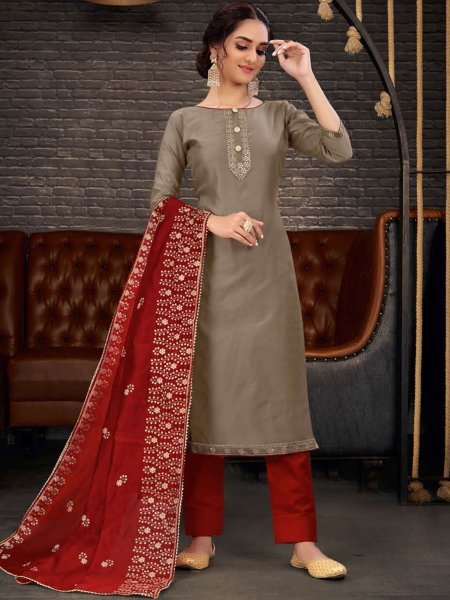 Raw Umber Brown Chanderi Plain Party Pant Kameez