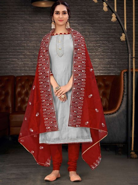 Gray Chanderi Plain Party Churidar Pant Kameez
