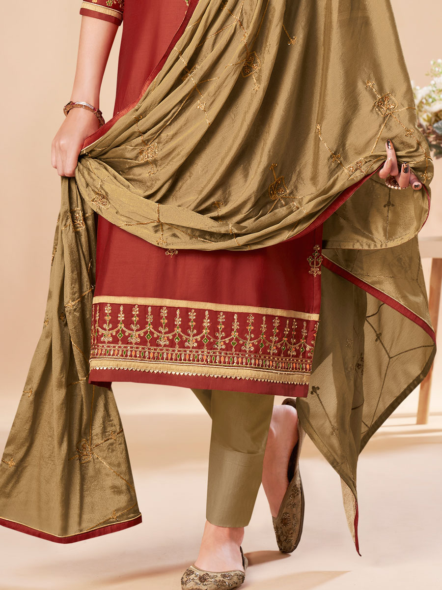 Venetian Red Silk Embroidered Festival Pant Kameez