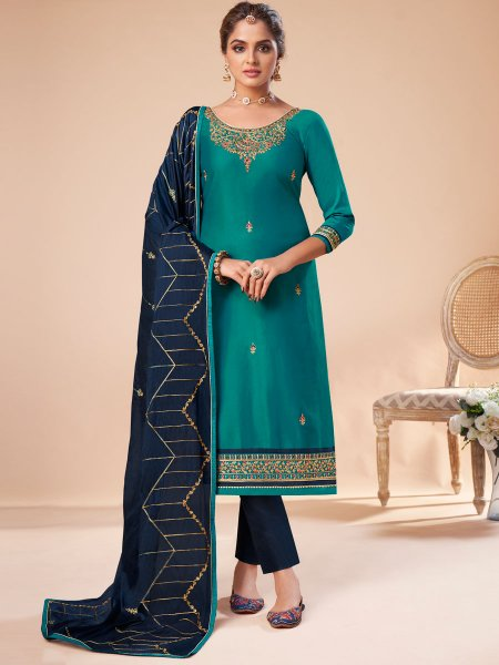 Turquoise Blue Silk Embroidered Festival Pant Kameez