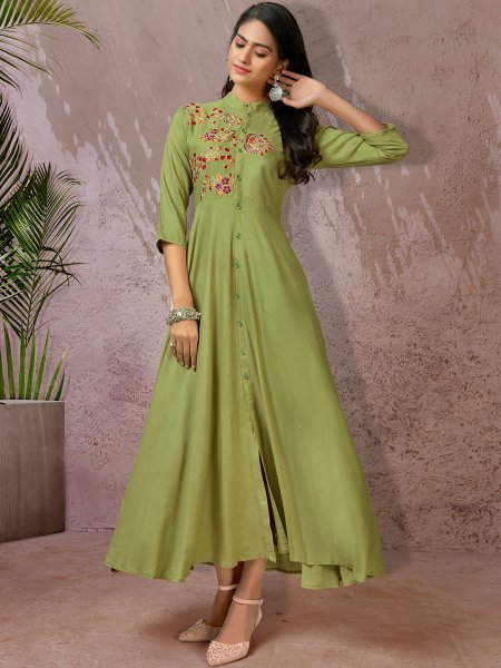 Parrot Green Rayon Embroidered Party Kurti
