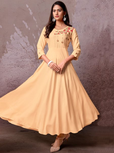 Peach-Orange Rayon Embroidered Party Kurti