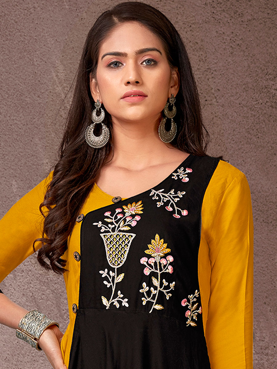 Mustard Yellow and Black Rayon Embroidered Party Kurti