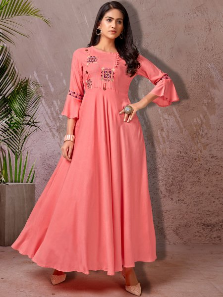 Brink Pink Rayon Embroidered Party Kurti