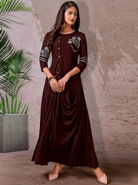 Seal Brown Rayon Embroidered Festival Kurti