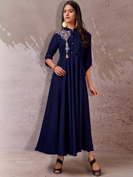 Navy Blue Rayon Embroidered Festival Kurti