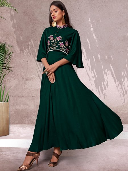 Hunter Green Rayon Embroidered Festival Kurti