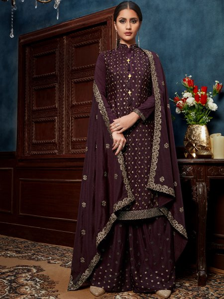 Wine Red Chinnon Embroidered Festival Palazzo Pant Kameez