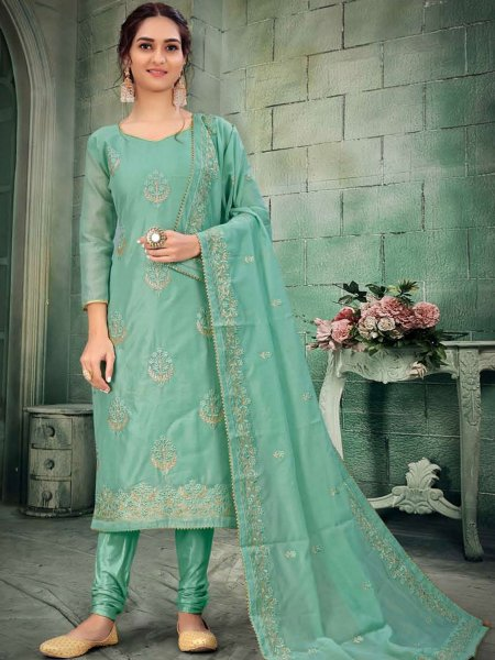 Light Jungle Green Chanderi Embroidered Party Churidar Pant Kameez