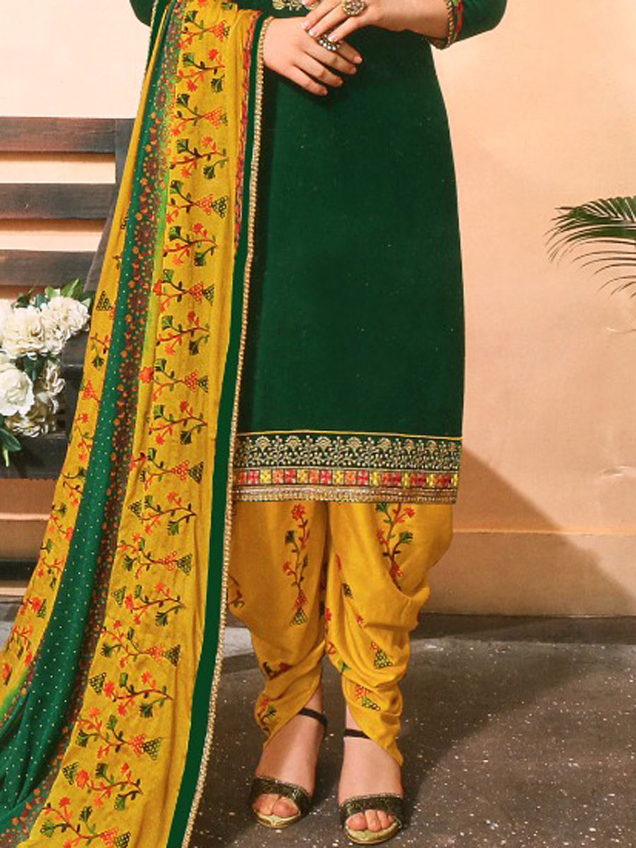 Hunter Green Cotton Silk Embroidered Festival Patiala Pant Kameez
