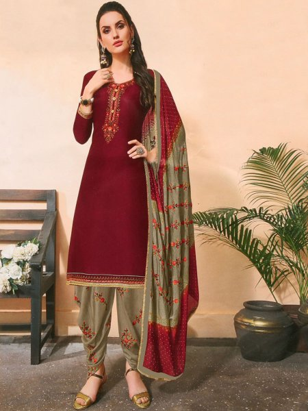 Maroon Cotton Silk Embroidered Festival Patiala Pant Kameez