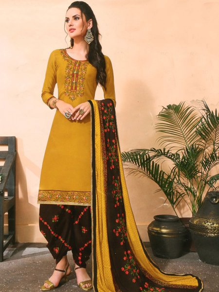 Mustard Yellow Cotton Silk Embroidered Festival Patiala Pant Kameez