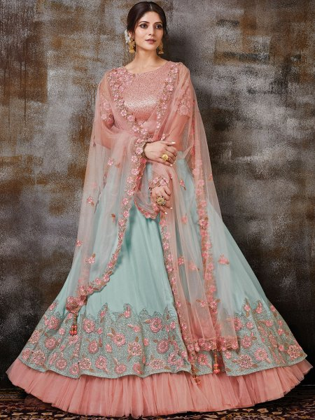 Sky Blue Silk Georgette Embroidered Bridal Lehenga Choli