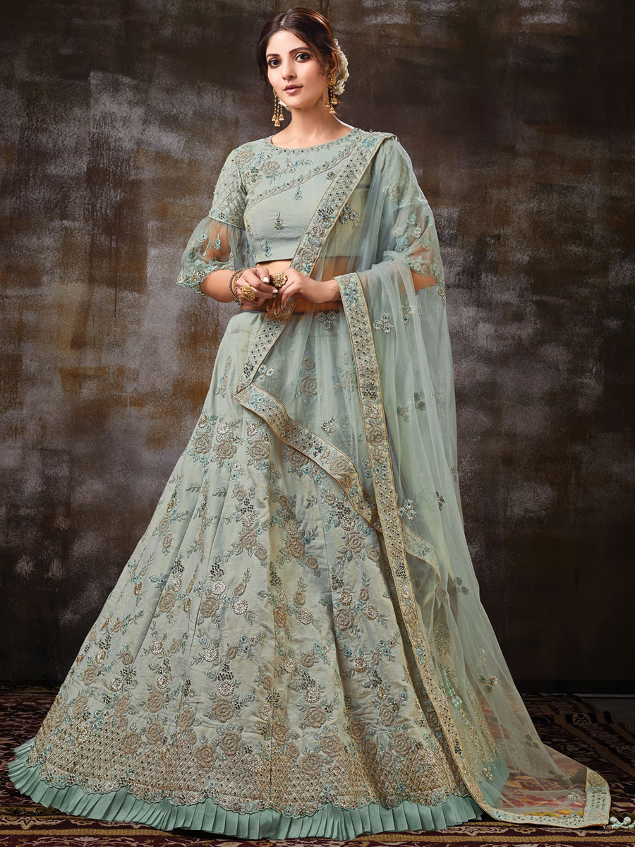 Gray Raw Silk Embroidered Bridal Lehenga Choli