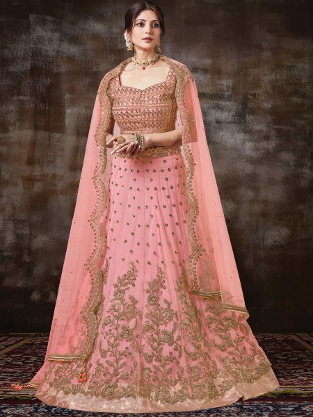 Salmon Pink Silk Georgette Embroidered Bridal Lehenga Choli