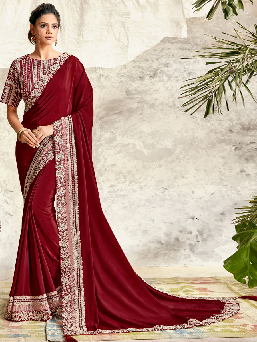 Maroon Silk Georgette Embroidered Party Saree