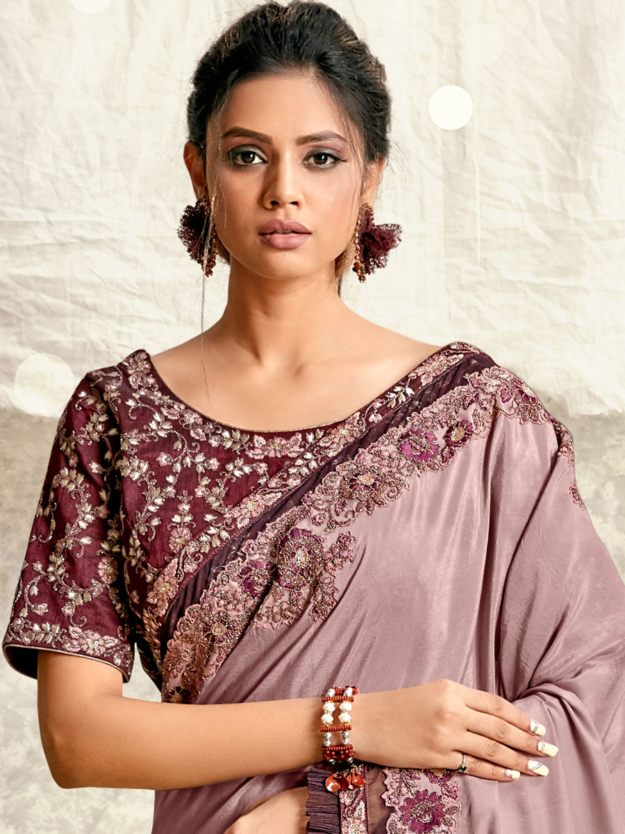 Mauve Violet Crepe Silk Embroidered Party Saree