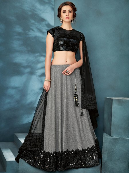 Gray Lycra Designer Party Lehenga Choli