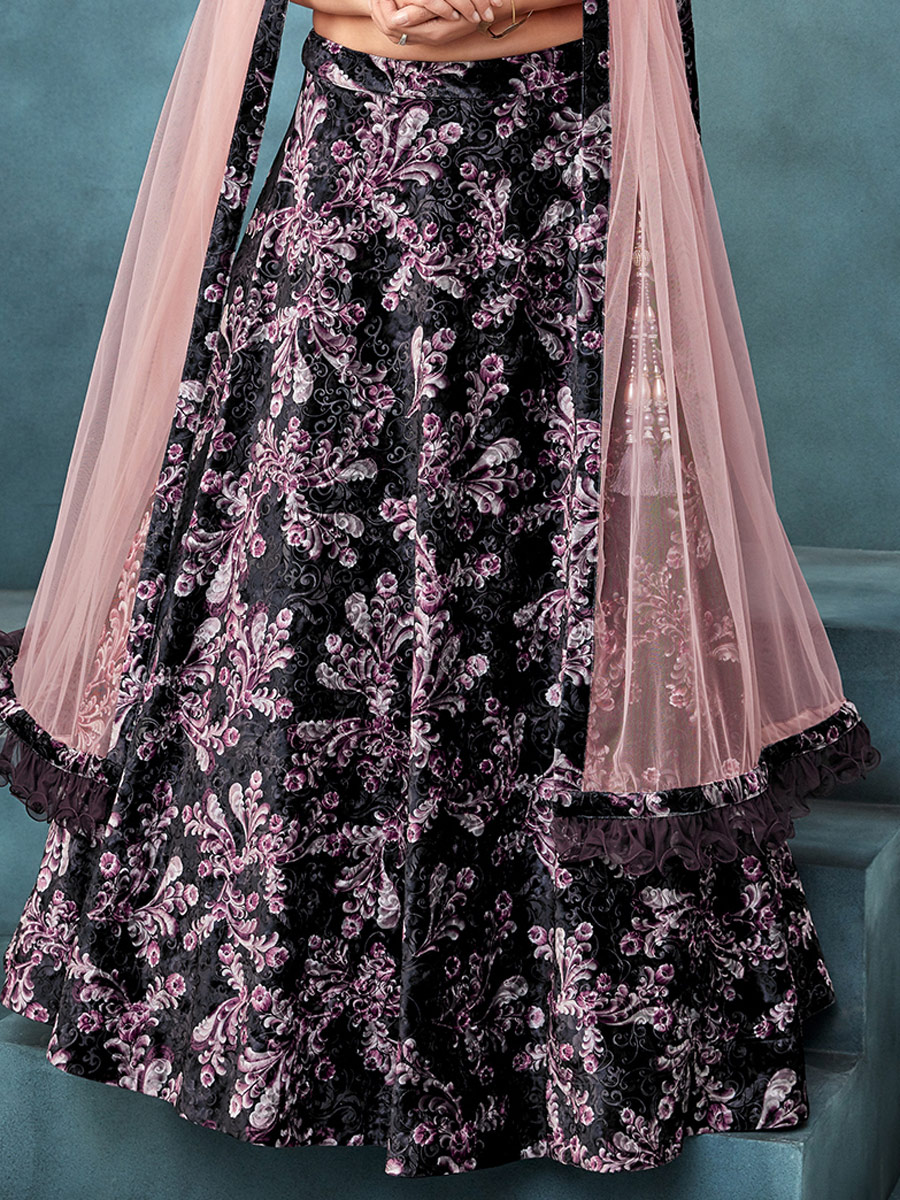 Wine Red Jacquard and Velvet Designer Party Lehenga Choli