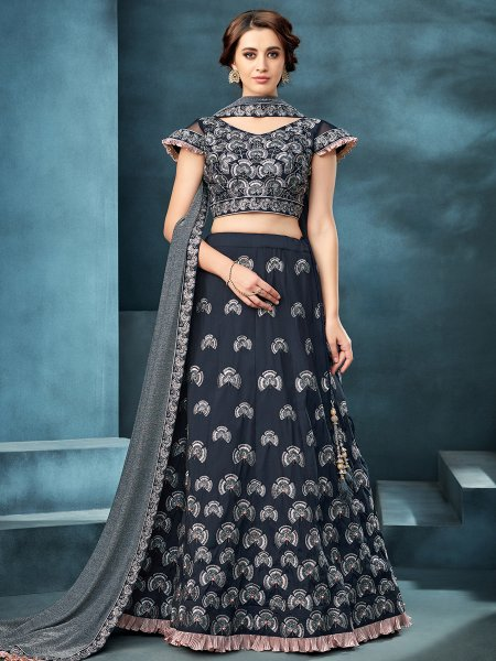 Prussian Blue Taffeta Silk Designer Party Lehenga Choli