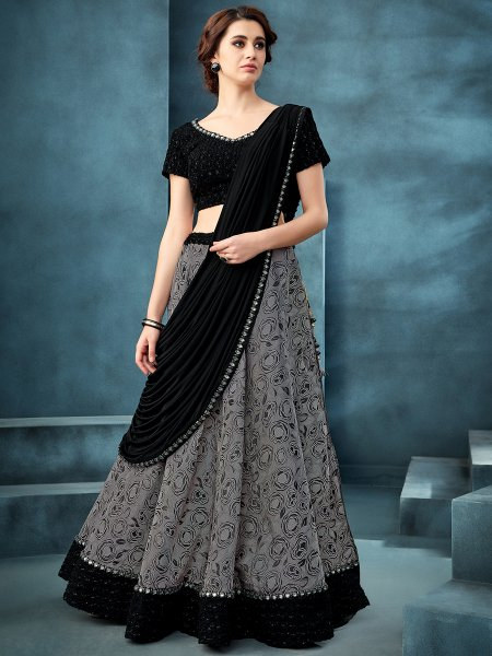 Gray Jacquard Designer Party Lehenga Choli