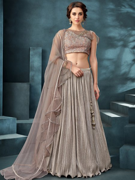 Silver Gray Lycra Designer Party Lehenga Choli