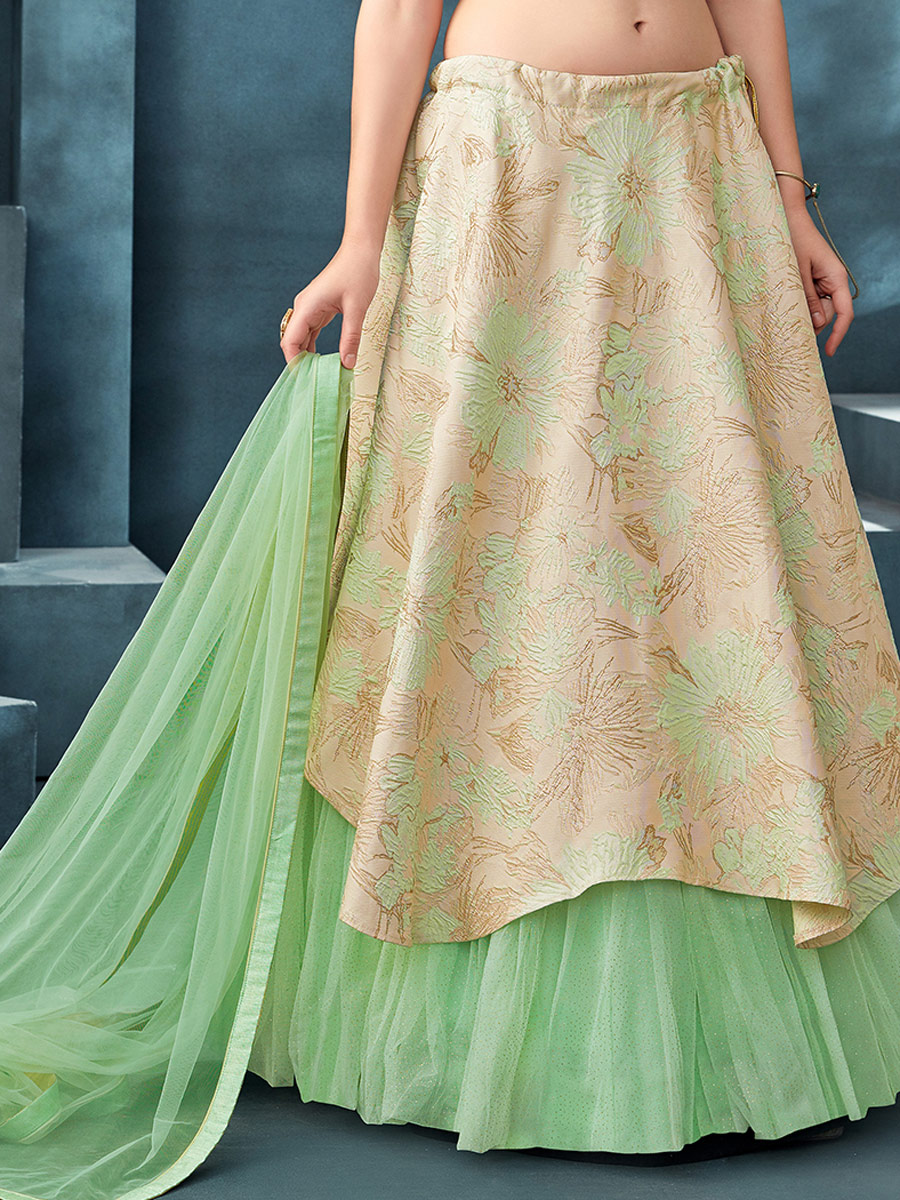 Beige Yellow and Sea Green Jacquard Designer Party Lehenga Choli