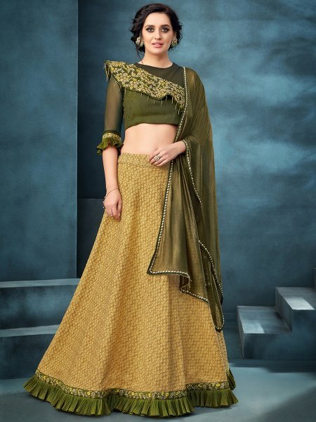 Saffron Yellow Jacquard Designer Party Lehenga Choli
