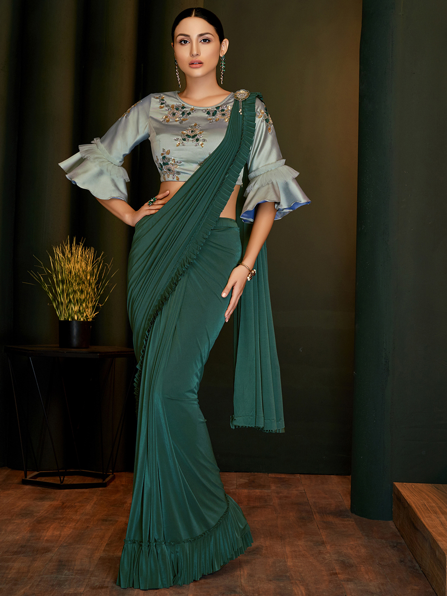 Hunter Green Lycra Designer Party Saree