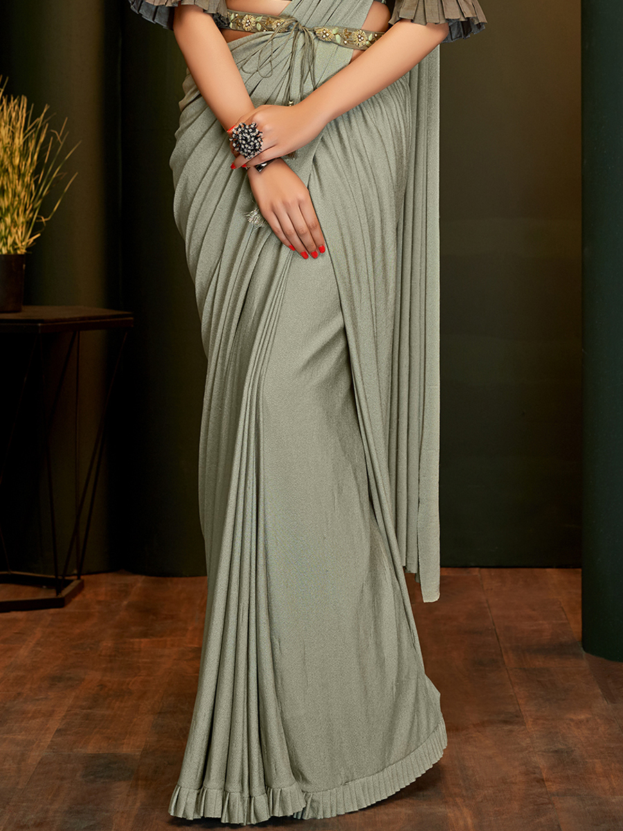 Gray Lycra Designer Party Saree