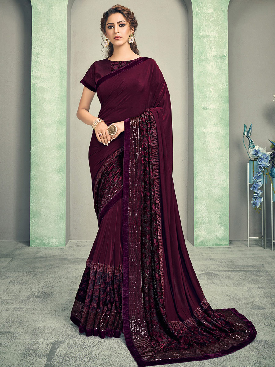 Wine Red Lycra Embroidered Party Saree